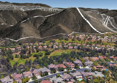 Aerial view above Orchard View Lane looking east towards proposed ridgeline lots - note proposed Safari Highlands Ranch Road