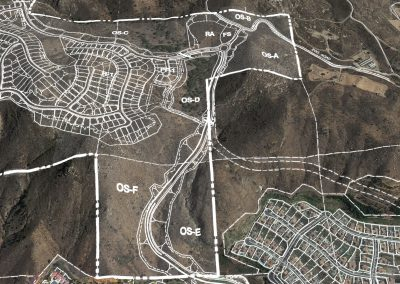 Proposed location of recreational area (RA) and fire station (FS) - top of image